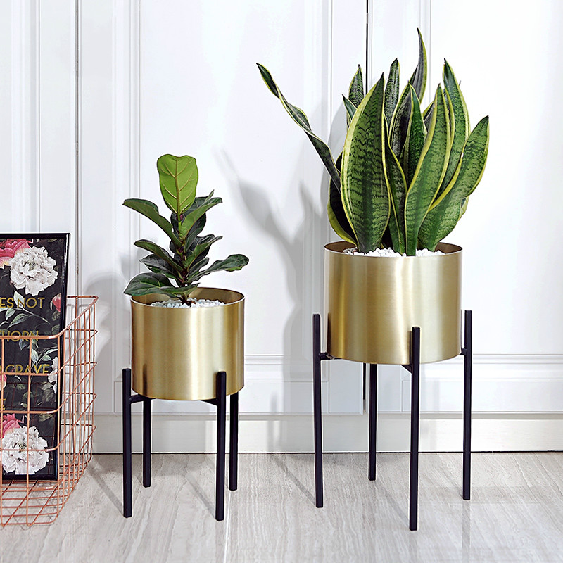 Goldene Blume Topf Edelstahl Schmiedeeisen Metall Blume Stand Home