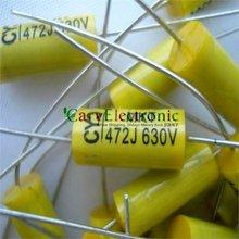 סיטונאי וקמעוני מוביל ארוך צהוב אלקטרוניקה הצירי פוליאסטר קבלים 0.0047 uF 630 V צינור fr amp audio משלוח חינם