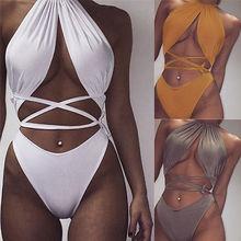 2018 Hot Sexy Womens One Piece Halter Hollow Cut Out Backless Bathing Suit Brazilian Monokini Swimsuits Swimwear One Piece Bodysuit