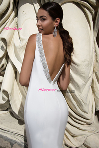 Image 4 - Simlple Soft Satin Mermaid Bride Wedding Dress 2019 new Robe de mariee sexy backless Bridal Gown vestidos de noiva