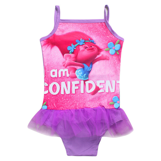 02f2c2ba47 2017 New Trolls Cartoon Baby Kid Girls Swimwear Summer Children Sling  Beachwear TUTU Swimsuit One Piece Swimsuit clothes in sea