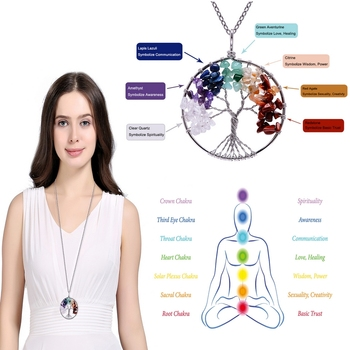 7 Chakra Tree Of Life Gem Necklace  1