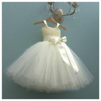 961bd9221 Vestido de niña de flor de marfil con lazo para niños niñas vestido de  fiesta largo mullido Junior dama de honor pastel de cumpleaños aplastar ...