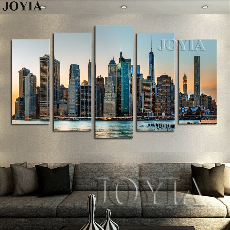 New York City Night Landscape Painting Modern Wall Decor Pictures 5 Pieces Wall Art Urban Skyscrapers Panting On Canvas No Frame