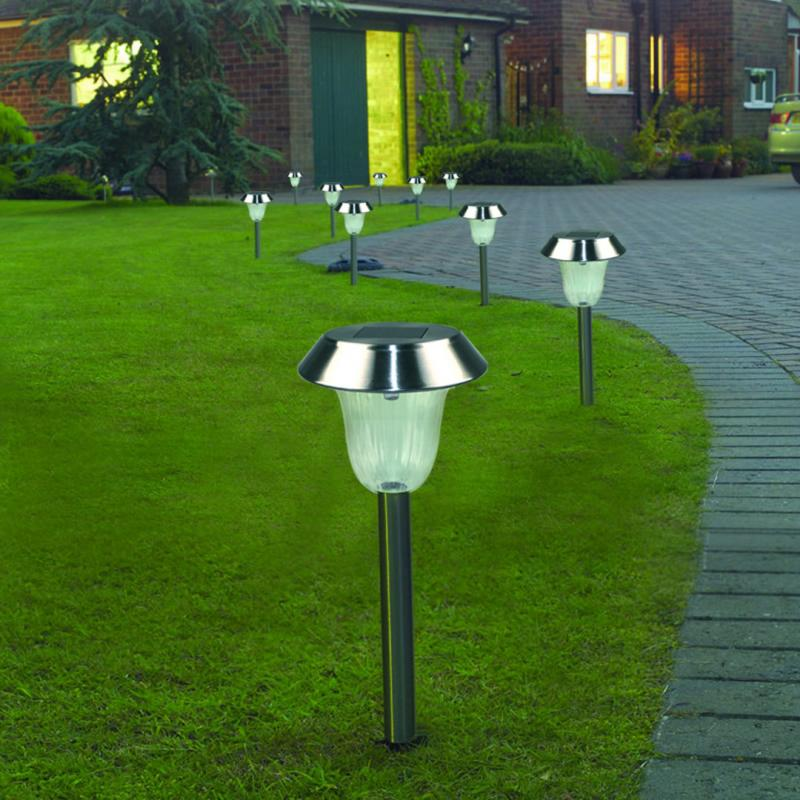 Pack Of 4 Color Changing Solar Stainless Steel Lawn Light Pathway Garden Lamp In Lawn Lamps From