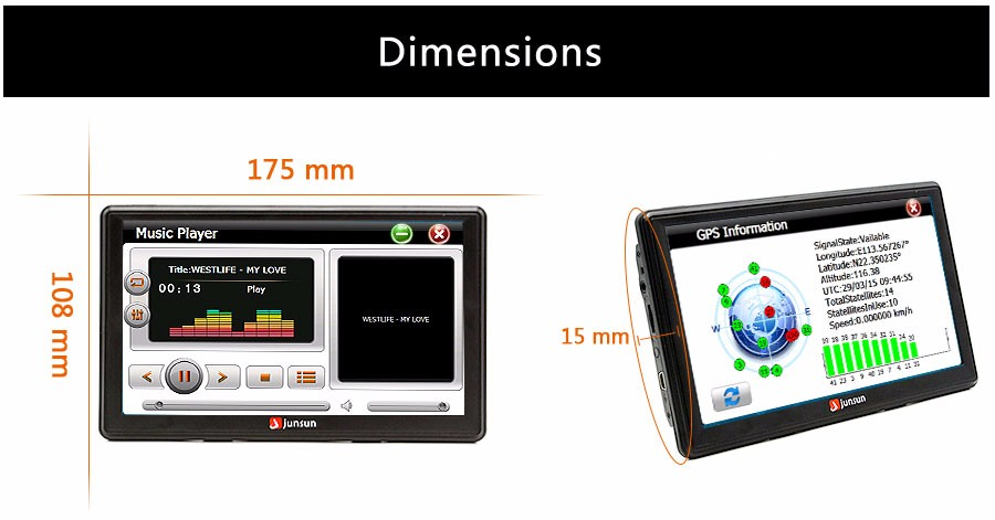 "7"" HD FM Bluetooth Car GPS Navigator - D100 14"