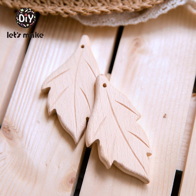 Let's Make Wooden Teether 10pc Cactus Leaves Tent Shape Cartoon DIY Pacifier Clip Chain Beech Wood BPA Free Organic Baby Teether