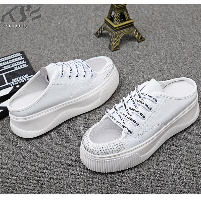 Sandales d'été à semelle épaisse femmes vraiment en cuir véritable designer de luxe femmes demi-glissière respirer pantoufles chaussures dame glisser sandales