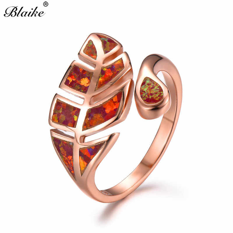 ... Blaike Rose Gold Silver Filled Plant Leaf Open Wedding Rings For Women  Men Fashion Orange e8b8fe9a2145