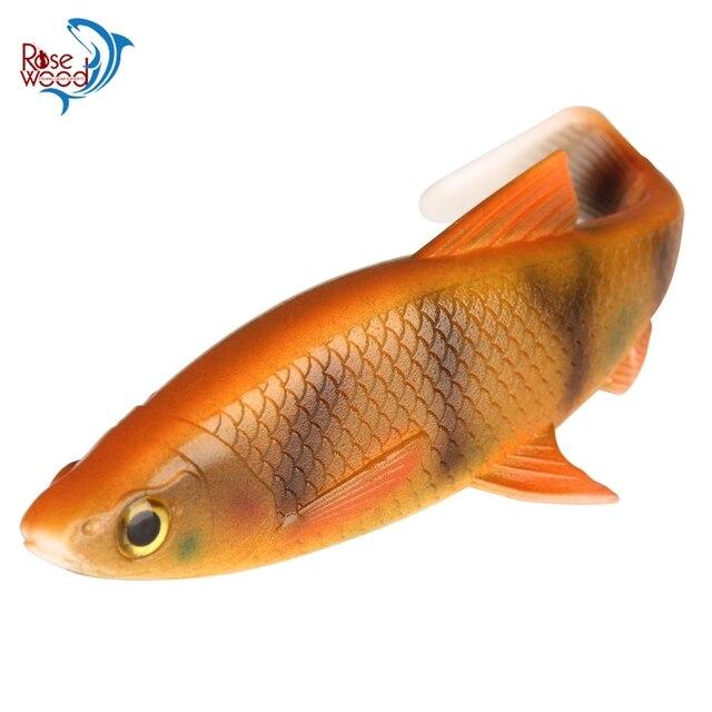 Palissandre 3D poisson doux scanné 5g10g20g40g 1 PC leurre de pêche avec parfait t-style queue de pagaie Silicone appât accessoires de pêche