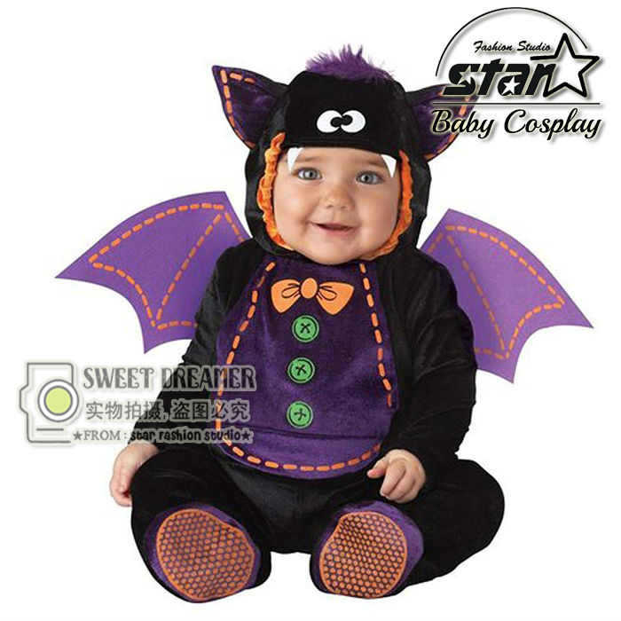 Pokemon Go Newborn Baby Jumpsuit Bat Monster Little Devil Halloween Cosplay Costume Toddler Funny Carnival Stage Clothes Set  newborn baby halloween vampire cosplay jumsuit toddler boys girls funny cute clothes set kids photography props birthday gift