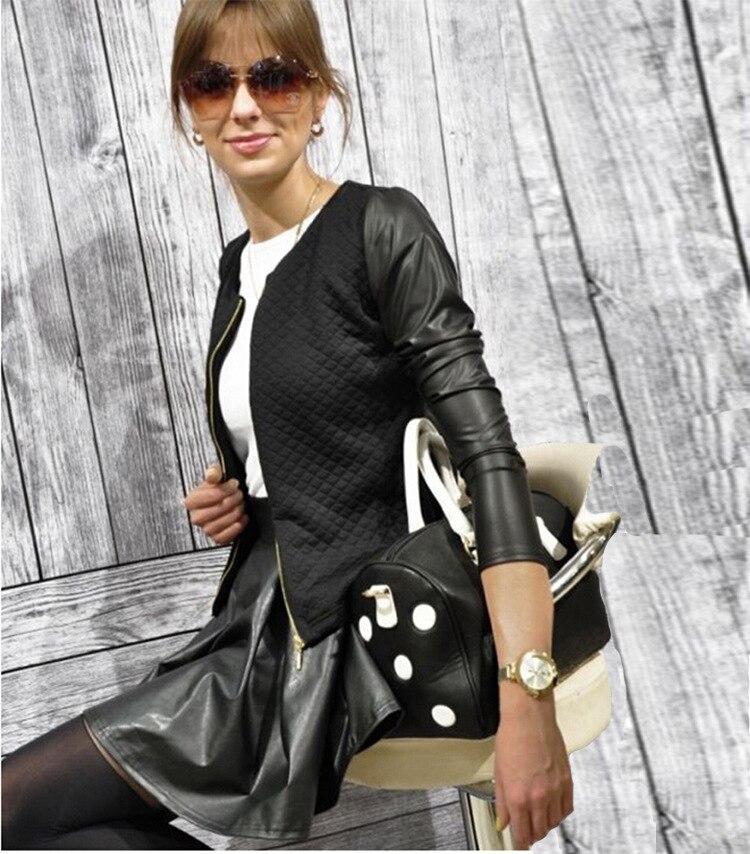 19 Women Basic Coats Jackets Spring Black Zipper Crop Pu Jacket Punk Style Bandage Women PU Leather Jacket Coat Crop Tops 3