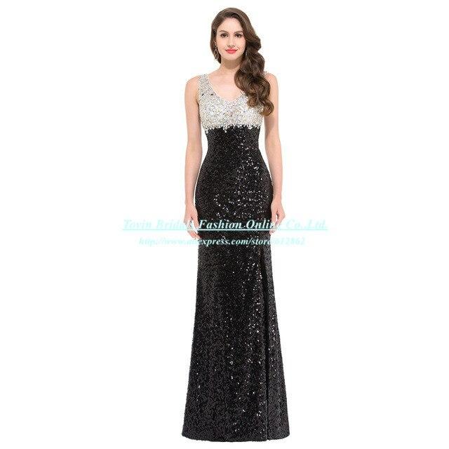 5a8df14e5 2016 vestido de fiesta Formal de lujo Vestidos Largos del brillo de  lentejuelas de noche negro