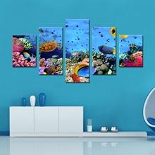 Drop Pengiriman Gambar Kanvas Lukisan Cetak Dekorasi Rumah Framed Wall Art Kanvas Cetak Gambar Dinding untuk Ruang Tamu Biru