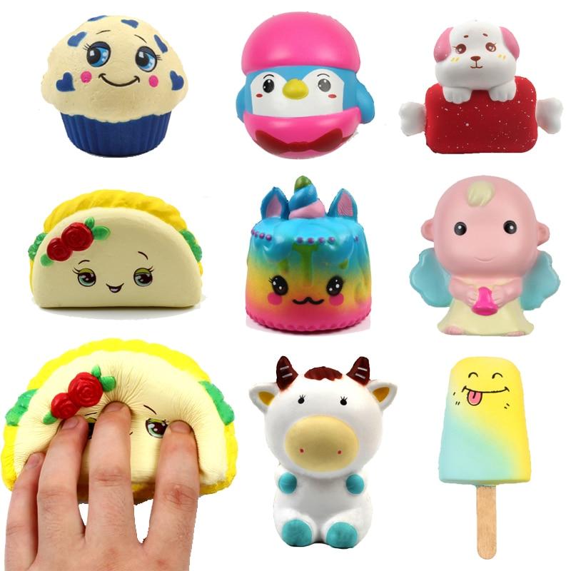 9 Designs Anti-stress Toys Simulation Cartoon Animal Cake Ice Cream Angel Slow Rebound Squishy Rising Squeeze Decompression Toy