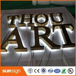 Letras de señalización retroiluminadas de acero inoxidable pulido/cepillado signos de letras de canal iluminadas en 3D para publicidad personalizada