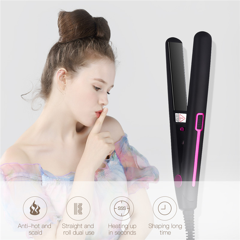 Constant Temperature Electric Hair Straightener Professional Aluminum Alloy Straightening Iron Hair Curler Dual Use Hair Styler