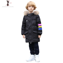 2016 New Arrival Long Solid Boys Hooded Fur Down Coat Jacket Parka Kids Children s Winter