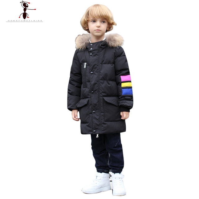 2016 New Arrival Long Solid Boys Hooded Fur Down Coat Jacket Parka Kids Children's Winter Jackets Teenage Kids ClothesGS527