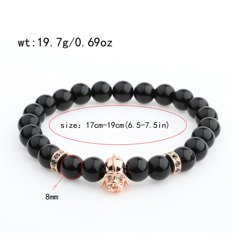 DOUVEI 17 New Charm Mens Star Wars Darth Vader CZ Beaded Bracelets 8mm Bright Black Lava Stone AB1012 3