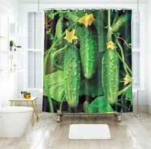 Cucumber Vegetable Tableware 3d Kiwifruit Shower Curtains Beauty Bathroom Curtain Thicken Waterproof Thickened Bath Curtain