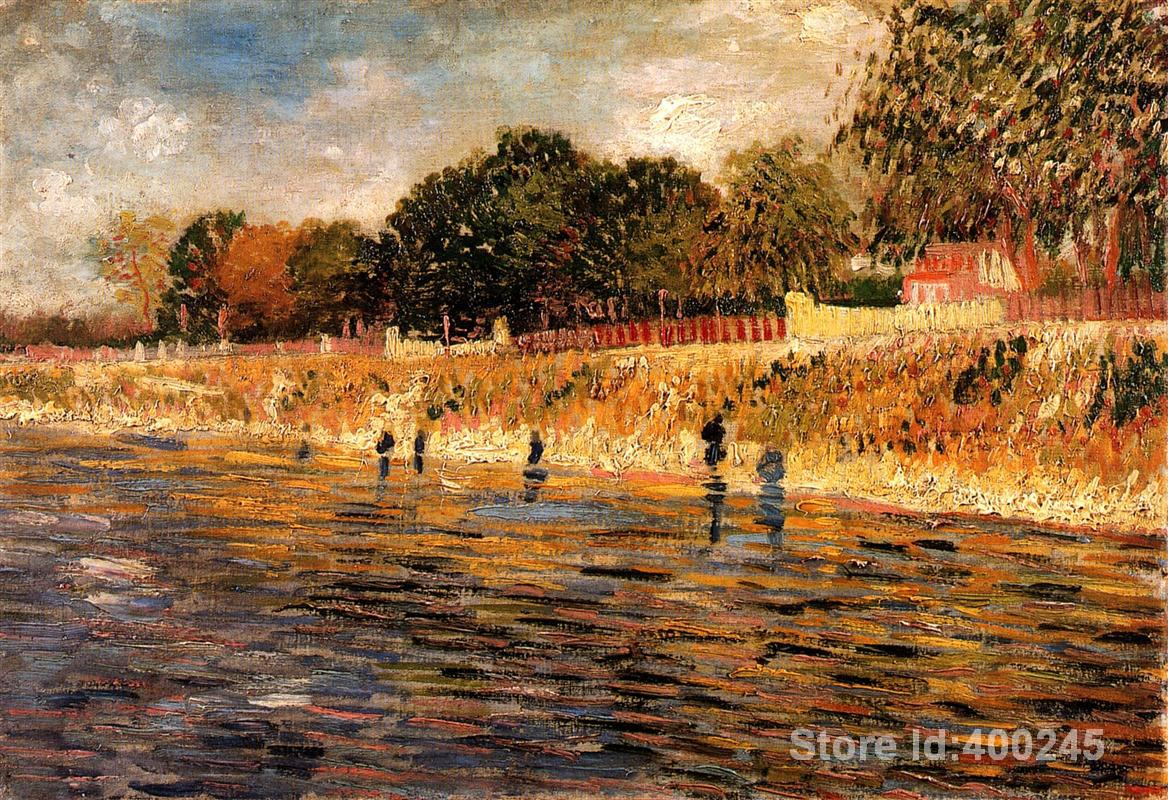 modern art oil paintings The Banks of the Seine Vincent Van Gogh Reproduction canvas Hand painted High qualitymodern art oil paintings The Banks of the Seine Vincent Van Gogh Reproduction canvas Hand painted High quality