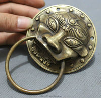 Chinese Bronze Copper Collect Palace Guardian Lion Head Statue Mask Door Knocker Pair Wholesale 2PCS Factory