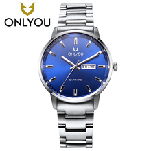 Man watches 2017 hot full rose women watches charm fashion ultra-thin clock ladies Auto Date blue lover business ONLYOU wrist