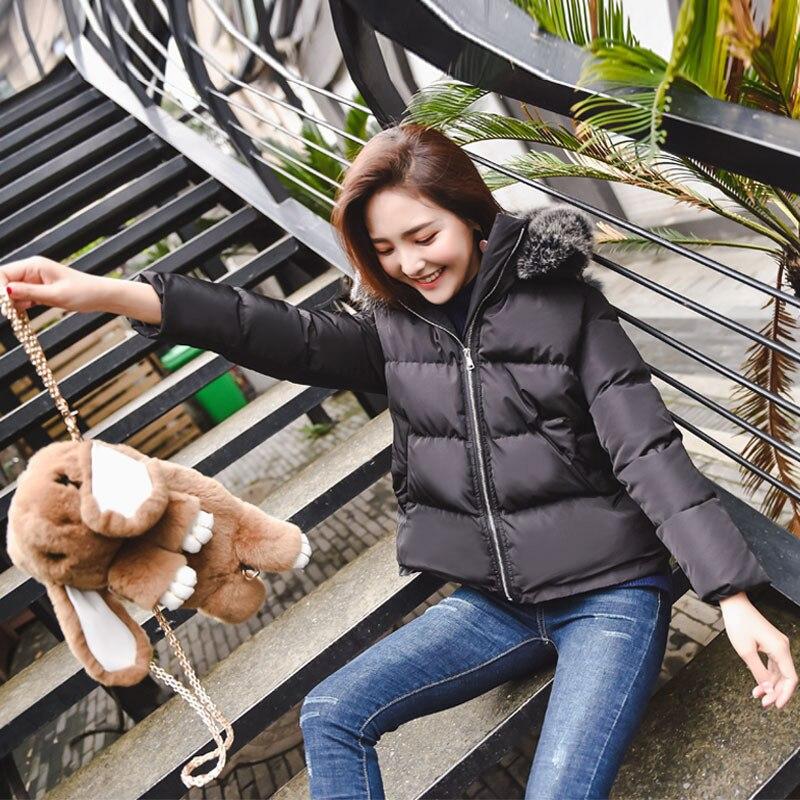 US $43.75 50% OFF|Oversized Jassen Wit Winterjas Vrouwen Korte Parka Katoen Gewatteerd Dikke Warm Womens Winter Jassen Hooded Leuke Parka Jas C3616 in