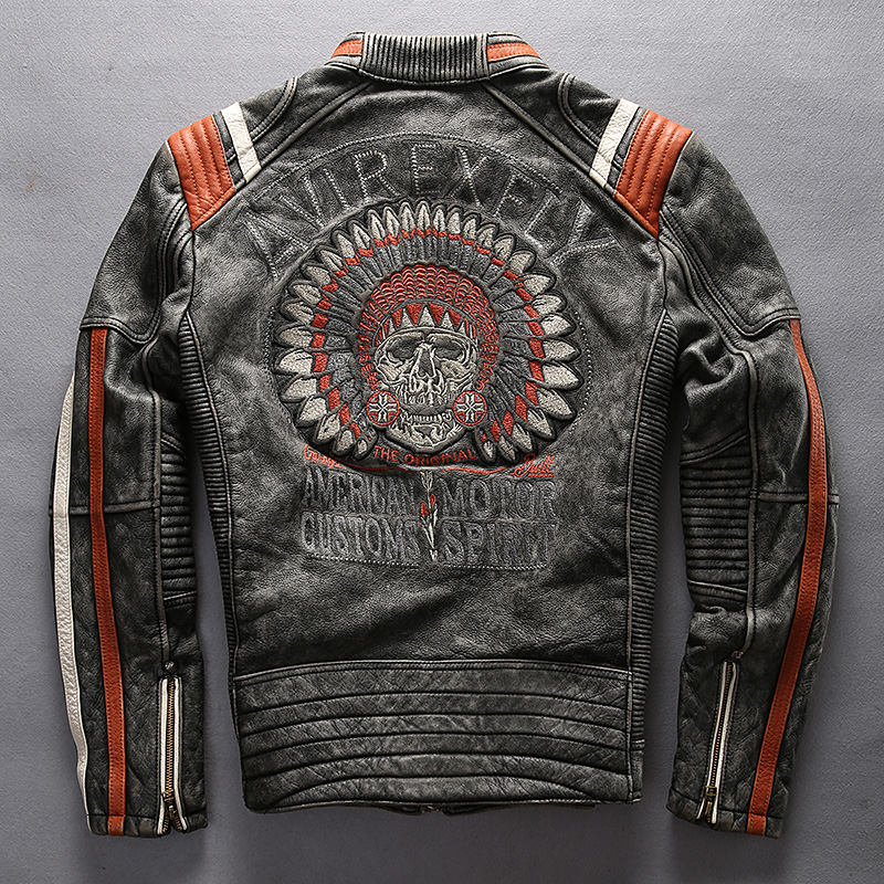leather jacket motorcycle punk genuine biker embroidery clothing accessories coats