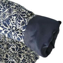 Retro Print Blue White Round Neck Full Sleeve Jacket