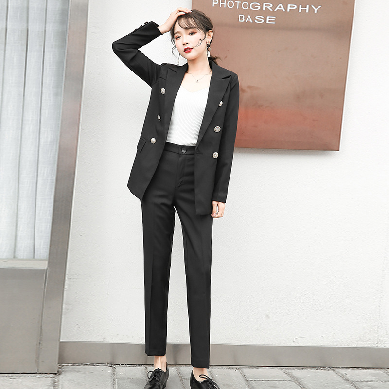 Casual Office Black Suit Korean Version Of The 2019 Autumn New Elegant Slim Double-breasted Suit Jacket Pants Suit Two-piece Set