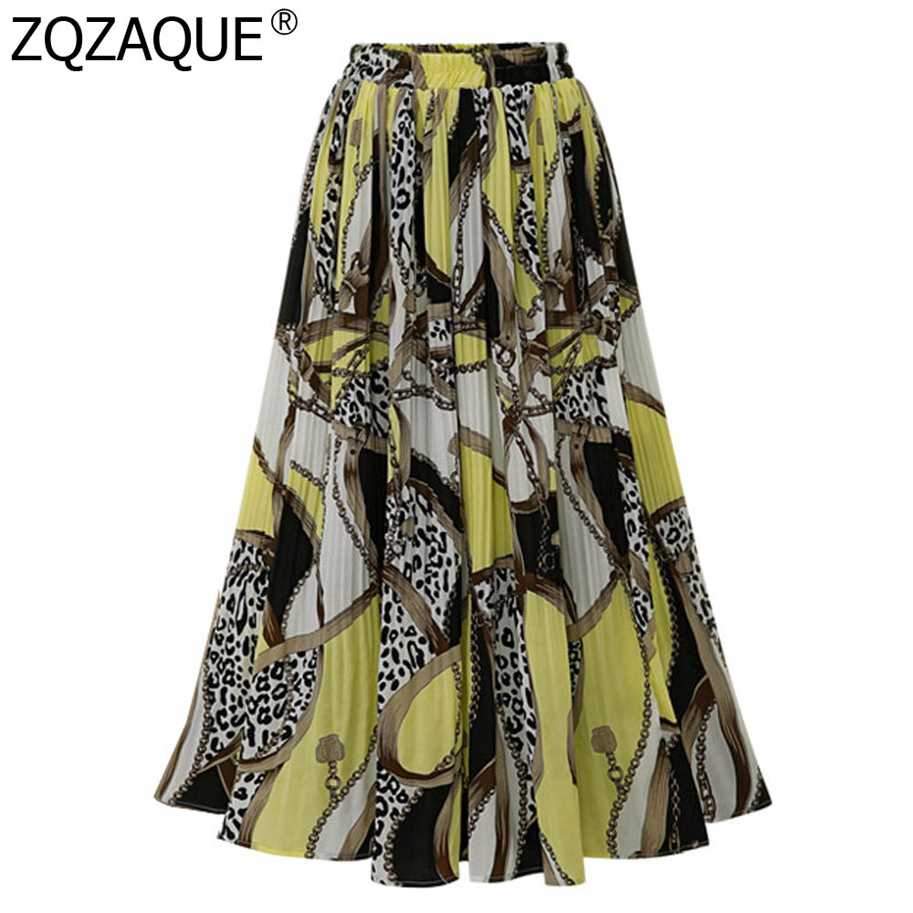 Cheap Quality Fashion Designer Women's Chiffon Skirts European And American Oversize Comfortable Big Hem A Line Long Skirt Lady