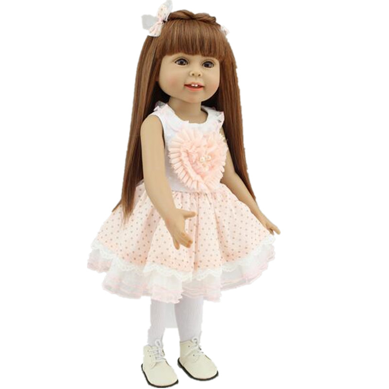 ФОТО 18inch American Girl Doll baby Reborn Babies Our Generation Dolls Accessories Pink Dress 45cm Reborn Full Silicone Baby Dolls