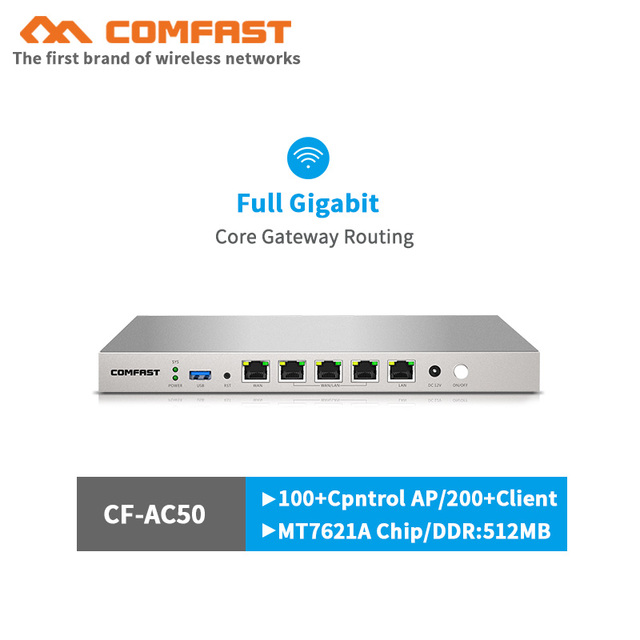 880MHz Dual Core AC Controller Full Gigabit Gateway Routing Multi-WAN 5*1000Mbps RJ45 Port Access Load Balance Qos PPPOE Server 1