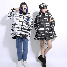 Fashion personality irregular HARAJUKU blended-color hasp black and white with a hood plus size wadded jacket cotton-padded