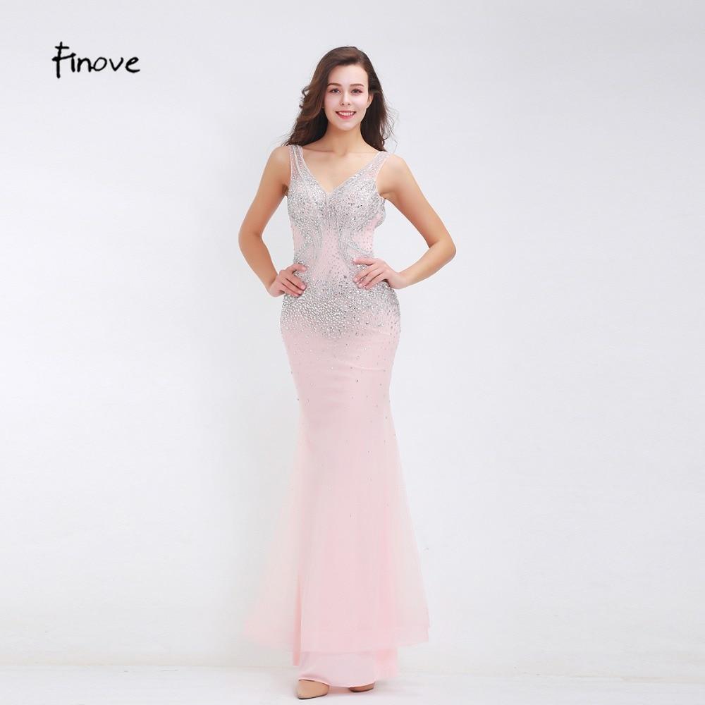 Finove Beading Evening Dresses 2019 New Styles Sexy Big V Neck Backless Romantic Pink Floor Length