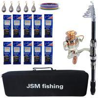 Fishing Rod Combo tools Kit carbon firber Spinning Telescopic Fishing Rod Reel Set with fishing Line sabiki rigs Fishing Bag|Rod Combo|   -