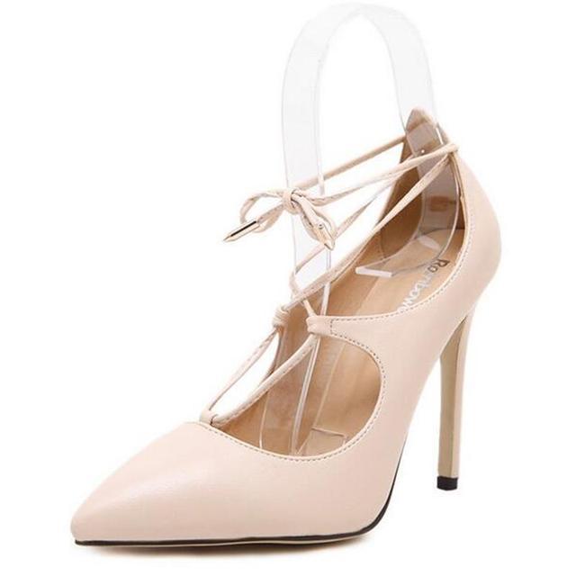 2016 Nuevo Estilo de Las Bombas de Las Señoras Sexy Crossover con cordones de Las Cosas Salvajes Mujeres de tacón de Aguja Tacones Altos Zapatos De La Boda Del Partido envío Gratis