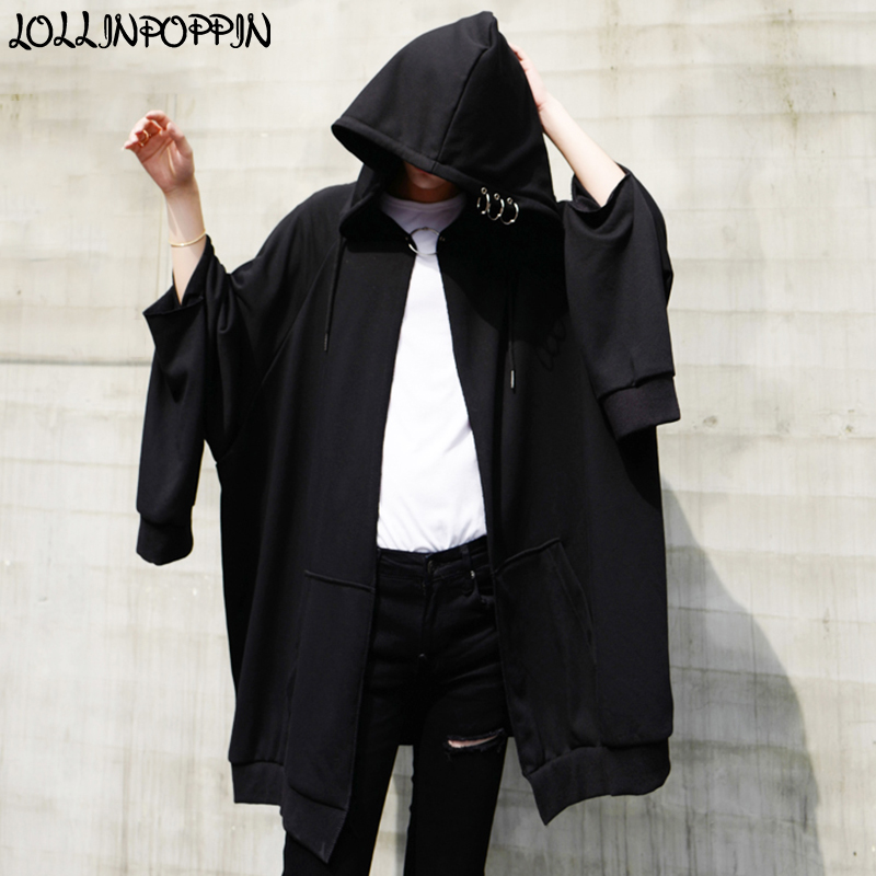 Men Punk Hip Hop Hoodies With Metal Rings Oversize Loose Hooded Sweatshirts Ripped Sleeves Mens Black Long Cardigan