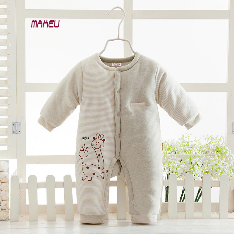 2018 New Organic Colored Cotton Baby Jumpsuit Newborn Baby Plus Thick Autumn Winter Clothes Baby Boy Girl Warm Cotton Romper baby girl clothes baby winter suit spring and autumn warm baby boy clothes newborn fashion cotton clothes two sets of underwear