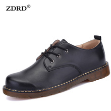 2016 New Men Flats High Quality Men Oxfords Shoes Genuine Leather Men Shoes Brown Lace-Up Business Men's Flats Leather Shoes
