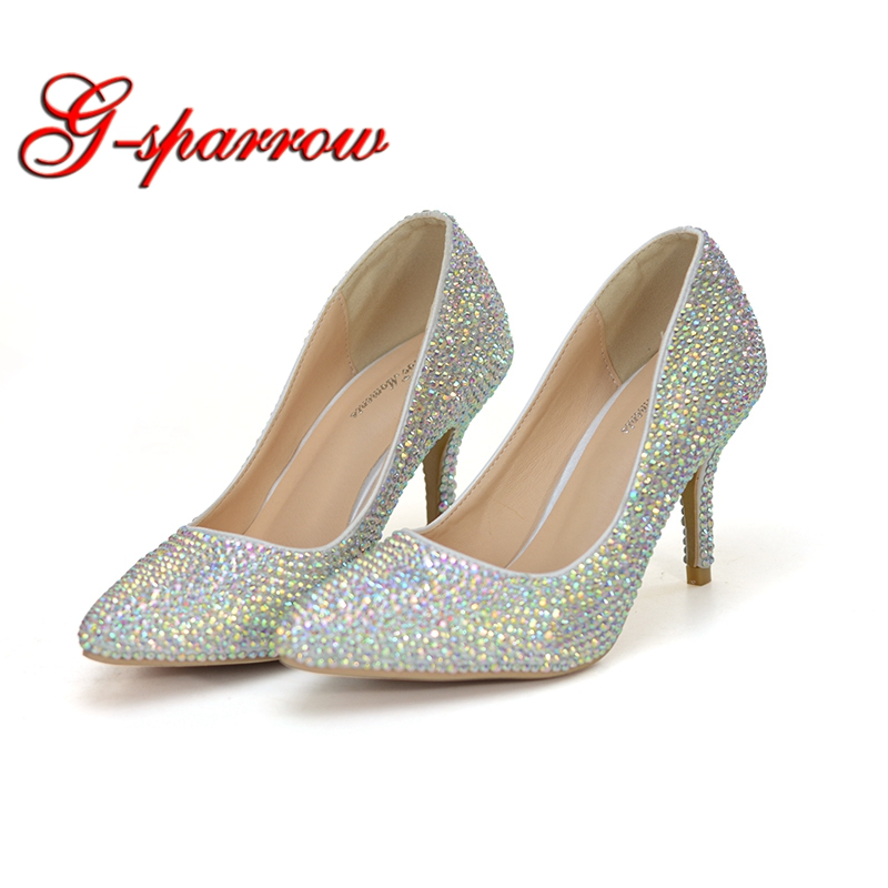 2018 AB Crystal Wedding Party Shoes Pointed Toe Women Pumps 3 Inches Comfortable Thin Heel Cinderella Event Prom Shoes Size 42 ab crystal diamond exquisite wedding shoes sparkling rhinestone handcraft bridal shoes thin heel evening prom party women pumps