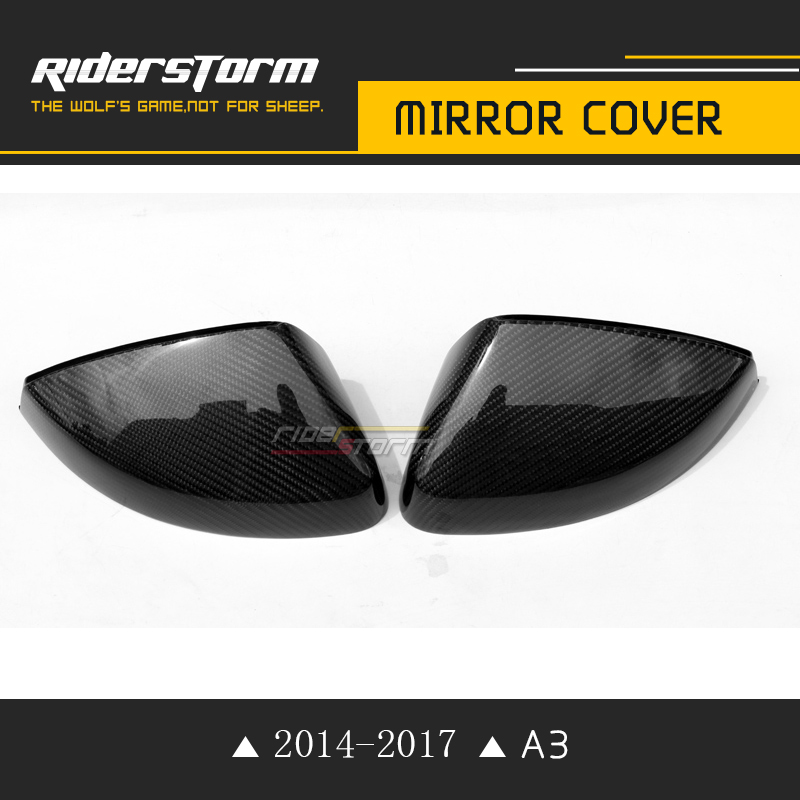2017 A3/S3 black carbon fiber rearview mirror covers cap trim set wing side mirror covers For 2014-2017 Audi A3 S3 sedan double solidsteel s3 4 black