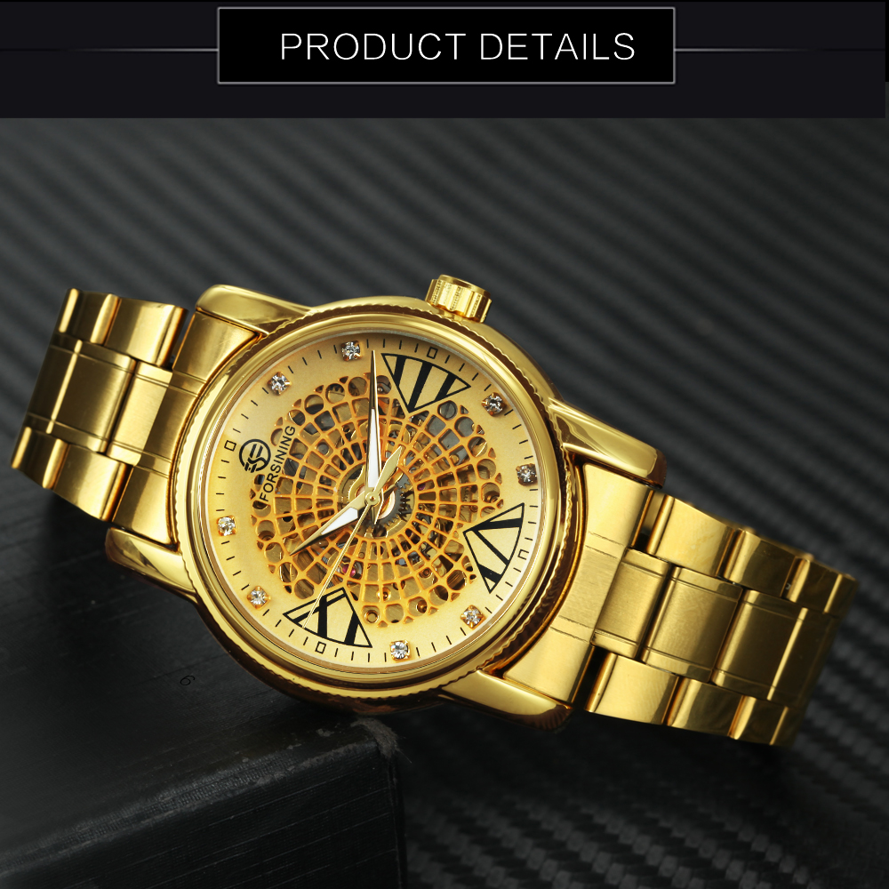 FORSINING Top Brand Luxury Dress Watch Men Auto Mechanical Skeleton Dial Golden Stainless Steel Strap Royal Classic Wristwatches 4