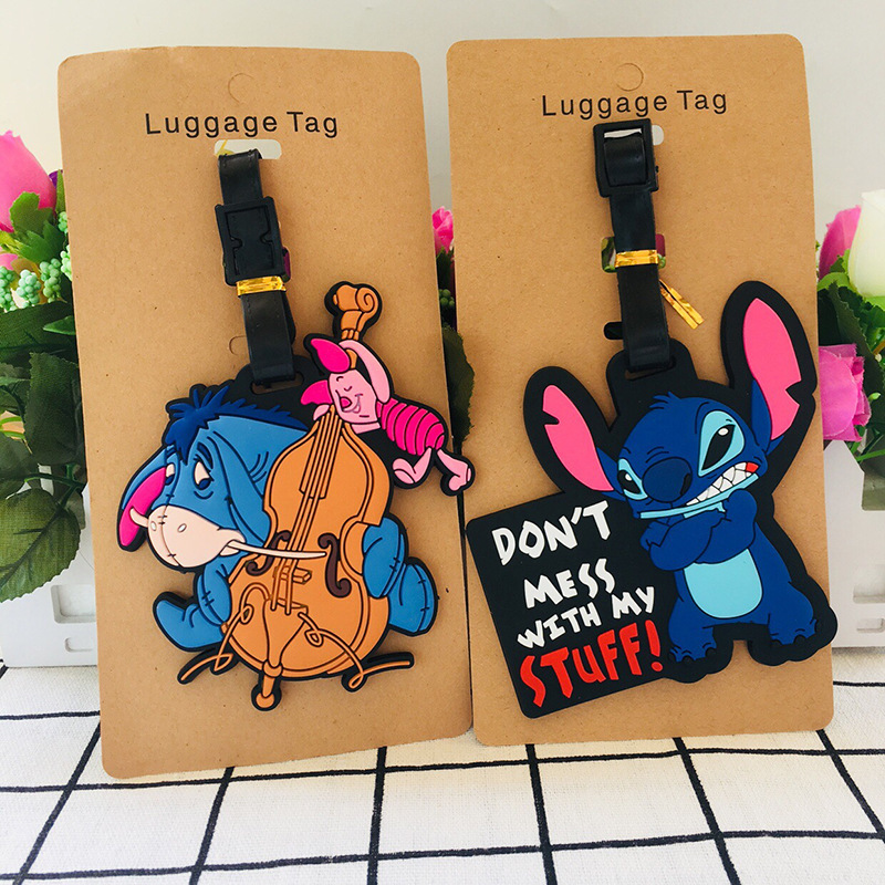 IVYYE Stitch Eeyore Anime Travel Accessories Luggage Tag Suitcase ID Address Portable Tags Holder Baggage Label New