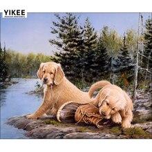 YIKEE 5d diamond painting dogs round drill 5D DIY Diamond Embroidery Picture Of Rhinestones Beadwork    c204 крем 5d