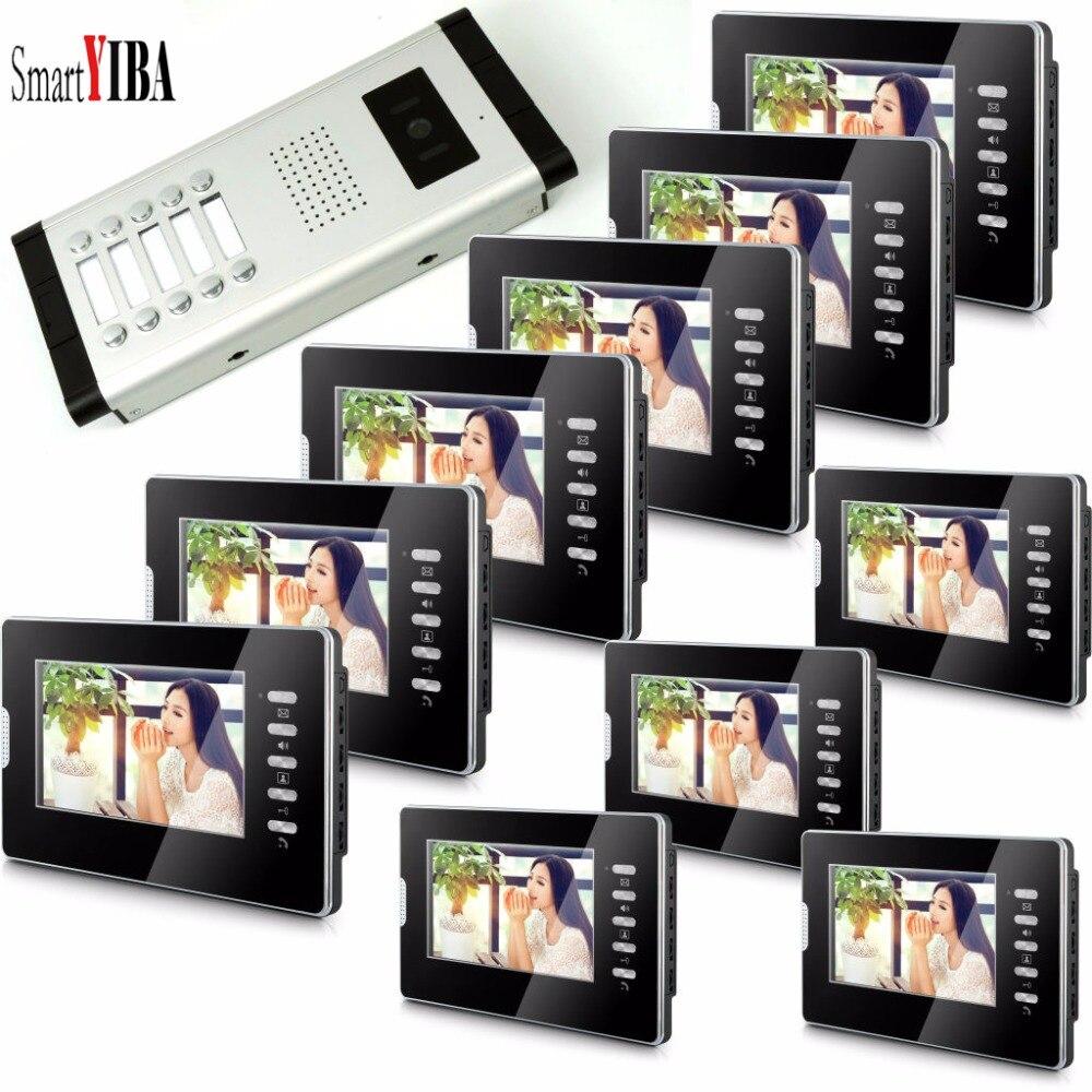 SmartYIBA Video Phone Intercoms For Apartment 2 To 12 Flats Monitors Color Panel Ring Volume Adjustable Smart Video Doorbell IR