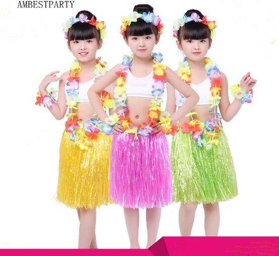 Thick 5pcs Hawaii Tropical Hula Grass Dance 40cm Kids Performance Dress Beach Party New Year Skirt Cosplay Costume Ambestparty Easy To Repair Mother & Kids