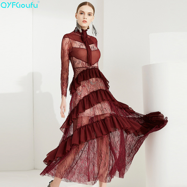 QYFCIOUFU 2018 Summer Lace Dress Long Sleeve High Quality Runway Maxi  Dresses Women Elegant Party Designing Flounced Long Dress 93c4efbfdcdc
